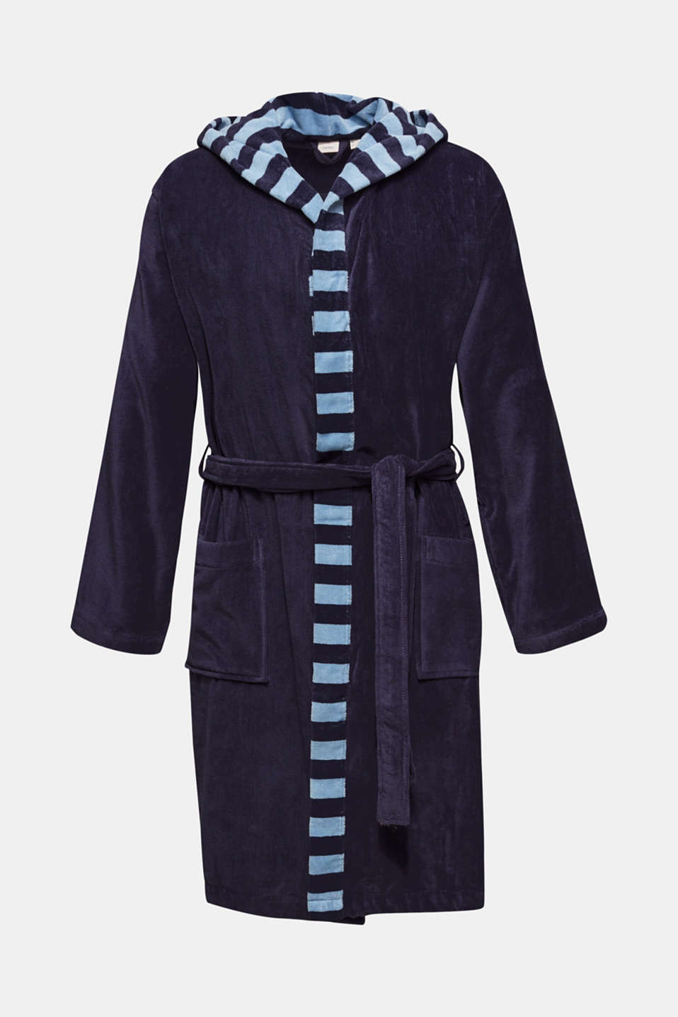 Mens striped bathrobe, 100% cotton, NAVY BLUE, detail image number 0