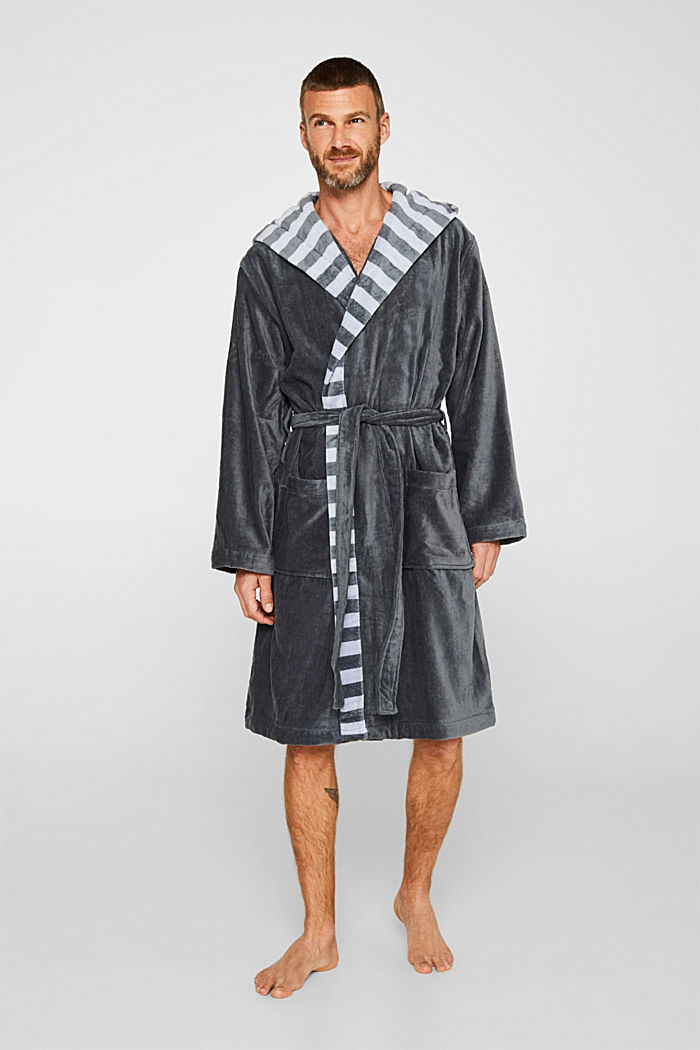 Mens striped bathrobe, 100% cotton