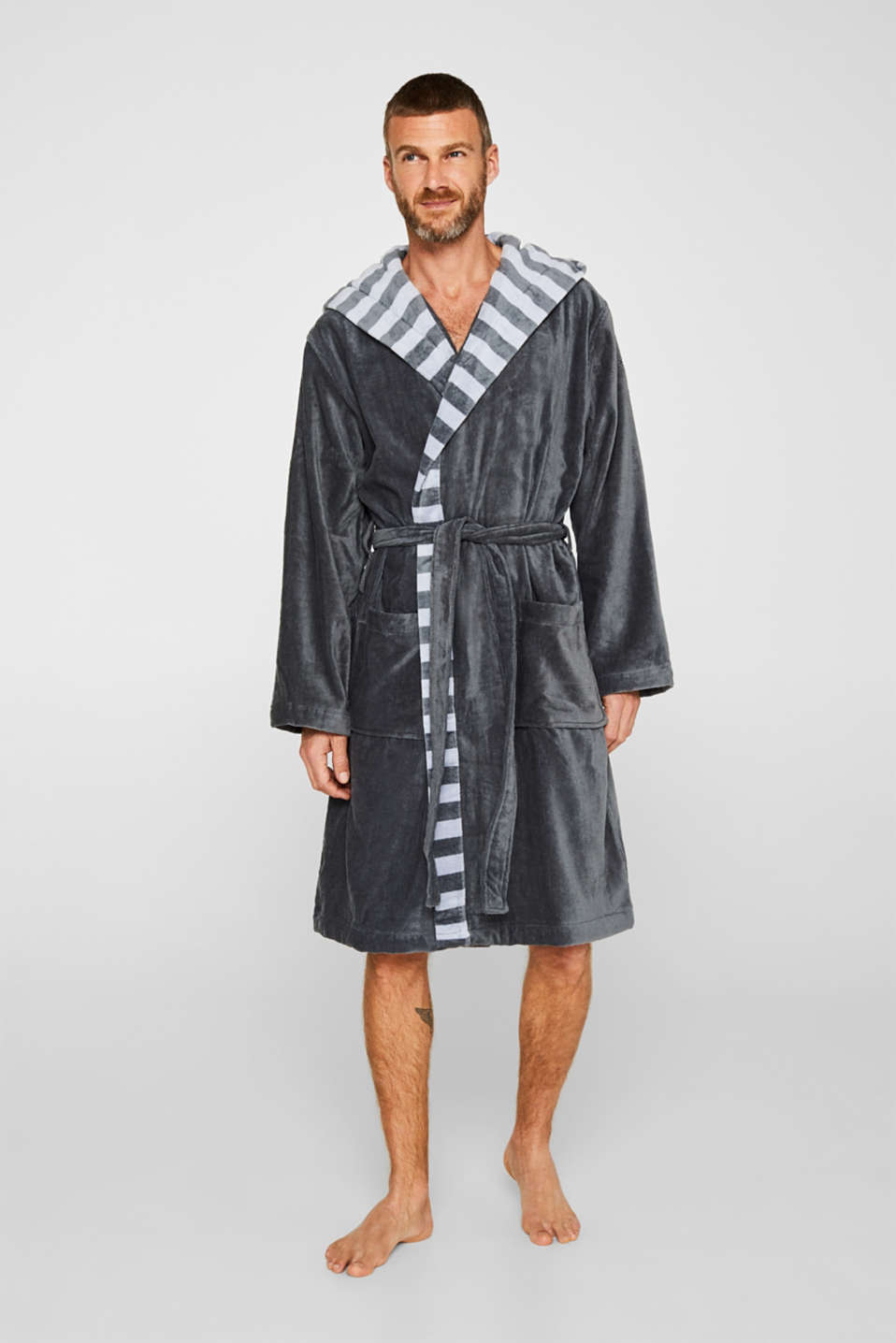 Mens striped bathrobe, 100% cotton, GREY STEEL, detail image number 1