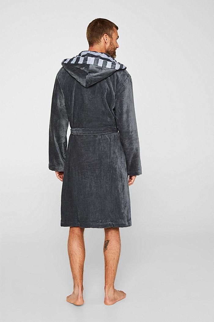 Mens striped bathrobe, 100% cotton, GREY STEEL, detail image number 2