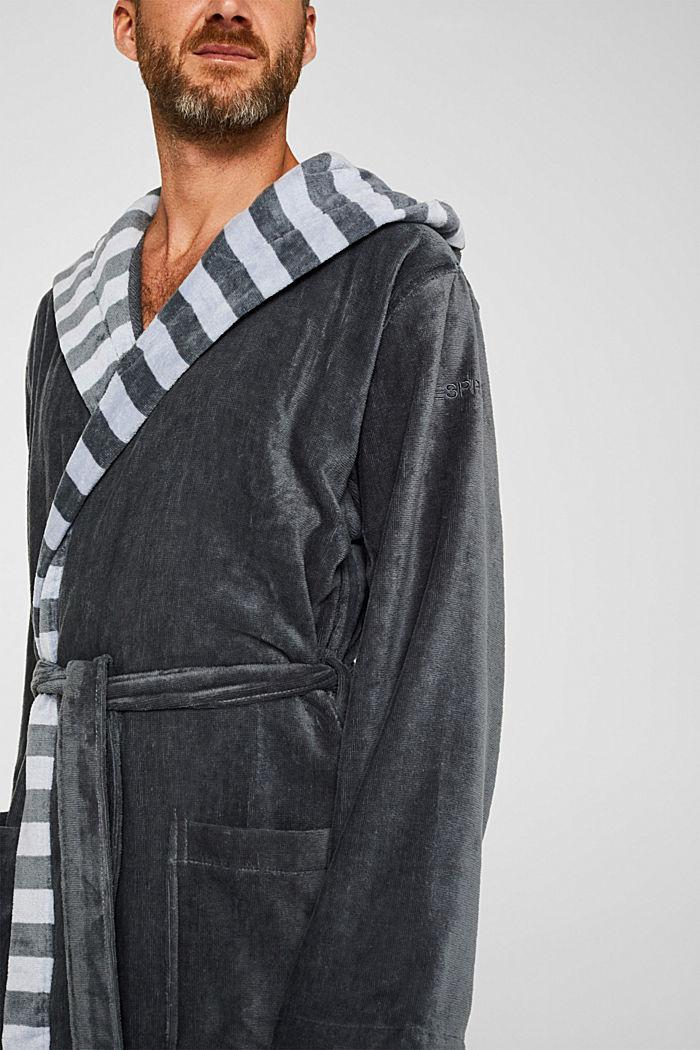 Mens striped bathrobe, 100% cotton, GREY STEEL, detail image number 3