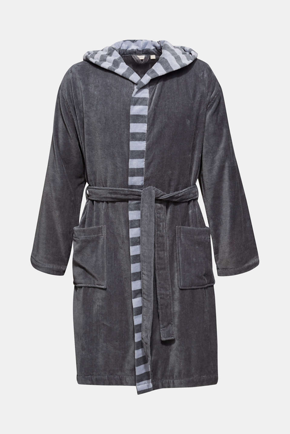 Mens striped bathrobe, 100% cotton, GREY STEEL, detail image number 0
