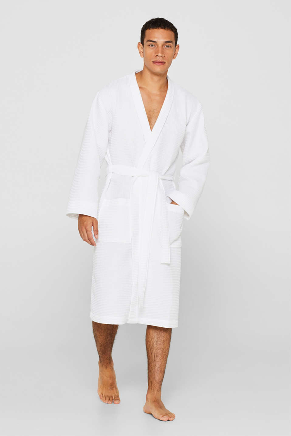 Waffle piqué bathrobe in 100% cotton, WHITE, detail image number 1