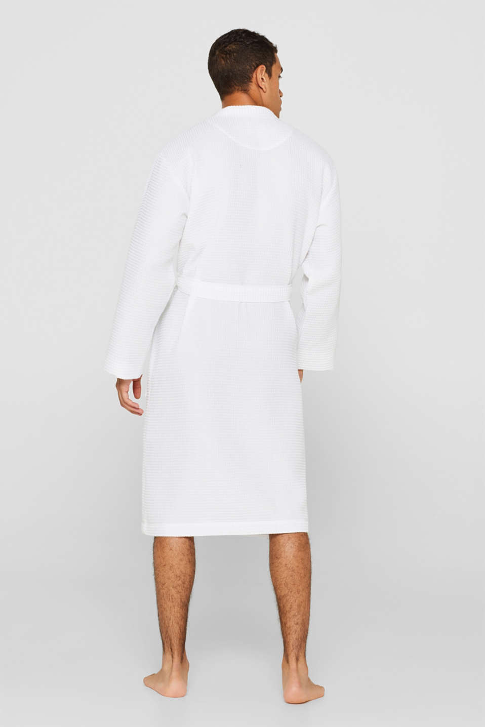 Waffle piqué bathrobe in 100% cotton, WHITE, detail image number 2
