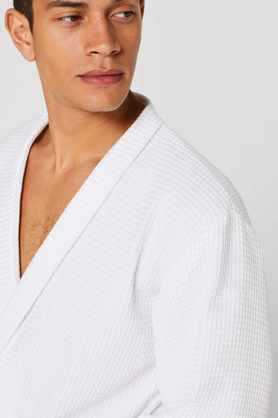 Waffle piqué bathrobe in 100% cotton, WHITE, detail image number 3