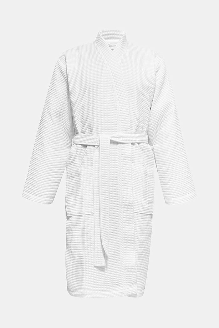 Waffle piqué bathrobe in 100% cotton, WHITE, detail image number 0