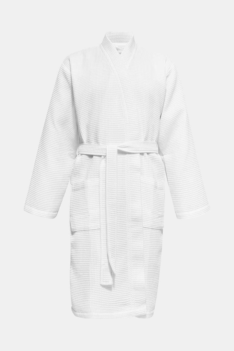 Waffle piqué bathrobe in 100% cotton, WHITE, detail image number 4