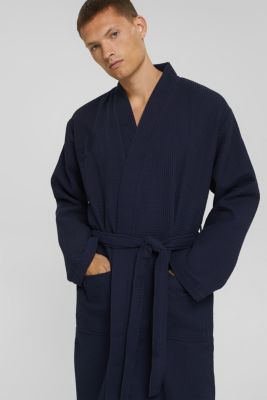 Waffle piqué bathrobe in 100% cotton, NAVY BLUE, detail
