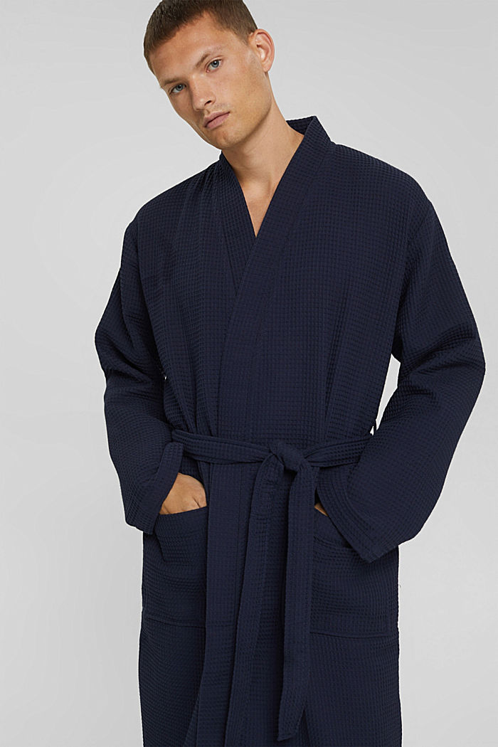 Waffle piqué bathrobe in 100% cotton, NAVY BLUE, detail image number 0