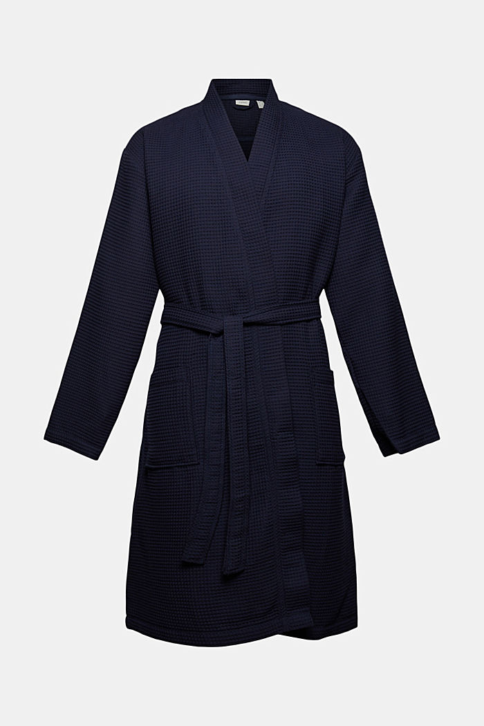 Waffle piqué bathrobe in 100% cotton, NAVY BLUE, detail image number 3