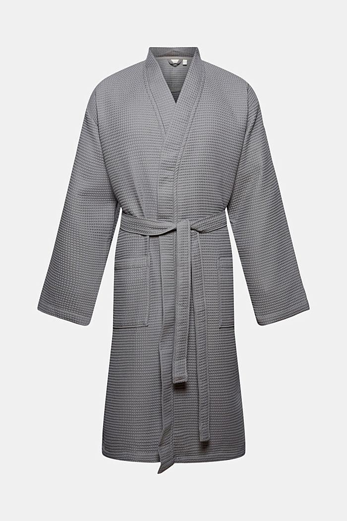 Waffle piqué bathrobe in 100% cotton
