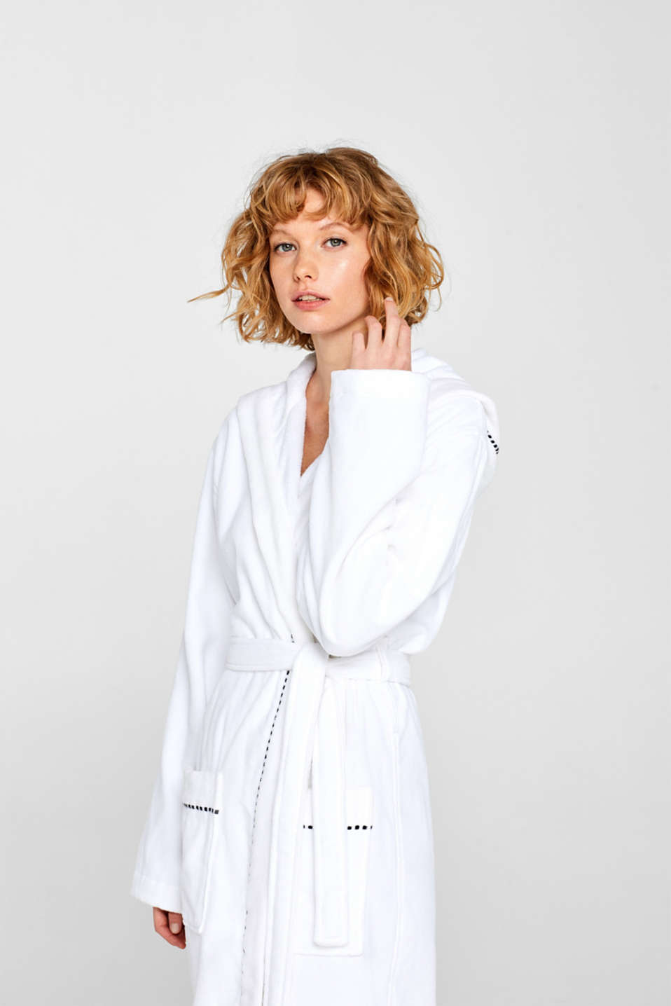 Unisex bathrobe made of 100% cotton, WHITE, detail image number 1