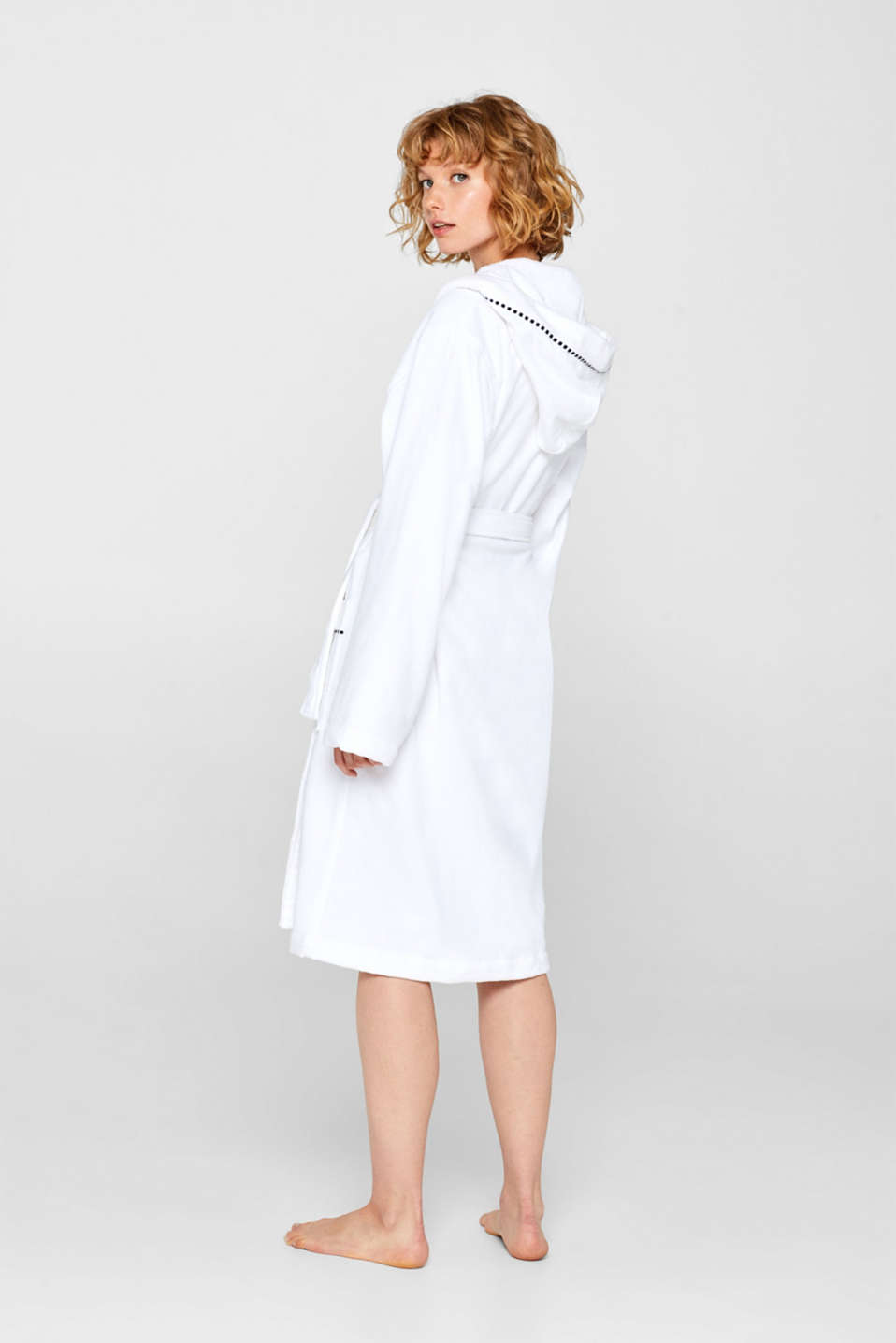 Unisex bathrobe made of 100% cotton, WHITE, detail image number 2