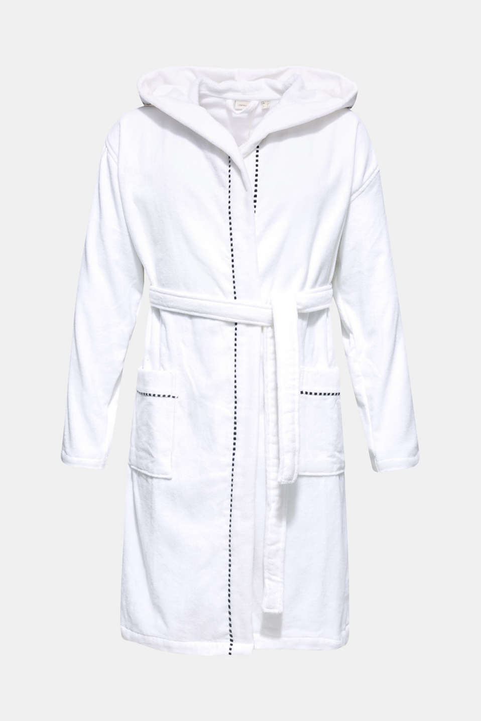 Unisex bathrobe made of 100% cotton, WHITE, detail image number 4