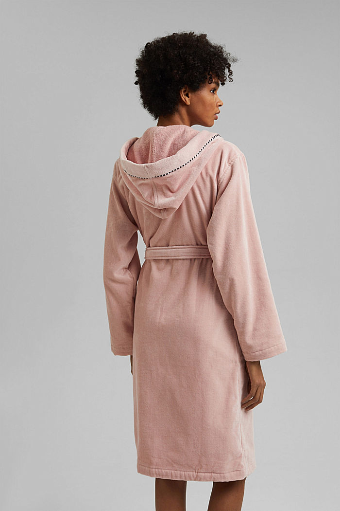 Suede bathrobe made of 100% cotton, ROSE, detail image number 2