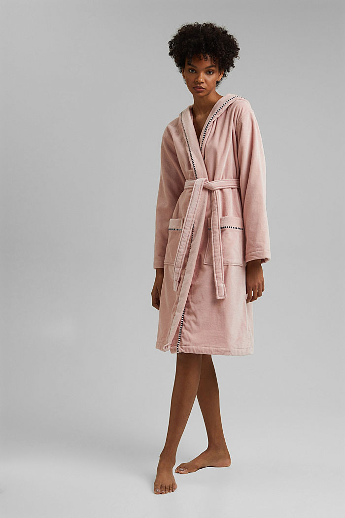 Suede bathrobe made of 100% cotton, ROSE, detail image number 0