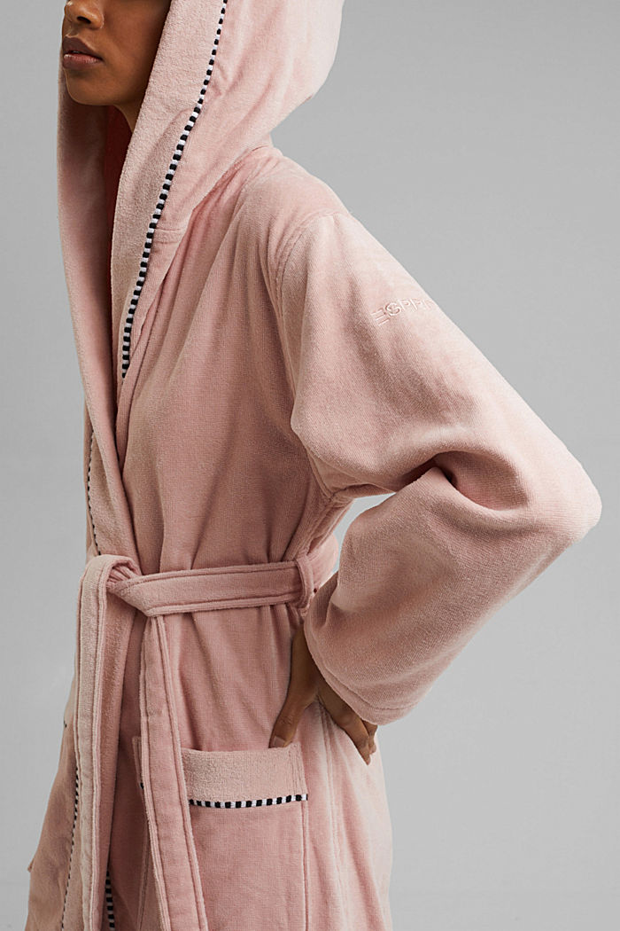 Suede bathrobe made of 100% cotton, ROSE, detail image number 3