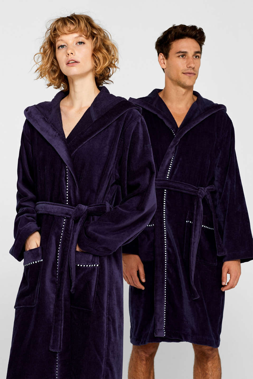 Unisex bathrobe made of 100% cotton, NAVY BLUE, detail image number 1
