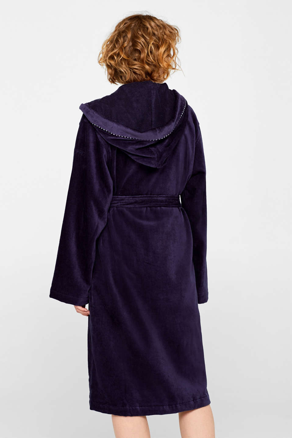 Unisex bathrobe made of 100% cotton, NAVY BLUE, detail image number 2