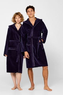 Unisex bathrobe, 100% cotton, NAVY BLUE, detail