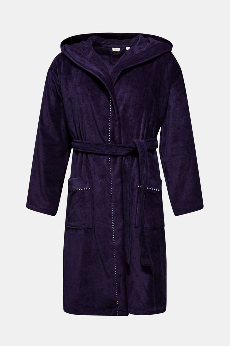 Unisex bathrobe made of 100% cotton, NAVY BLUE, detail image number 4