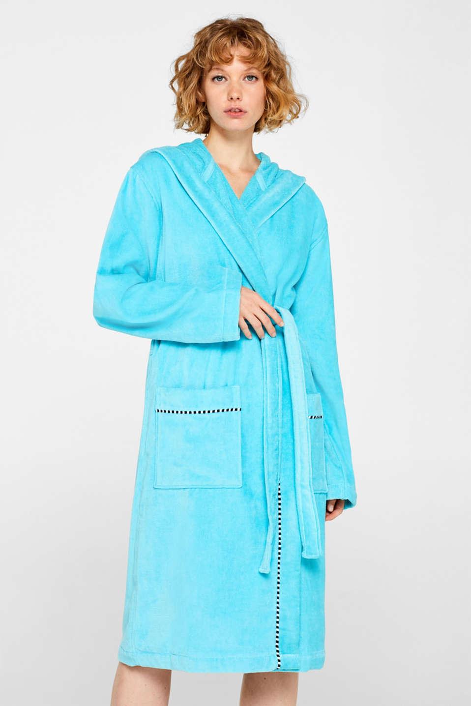 Unisex bathrobe made of 100% cotton, TURQUOISE, detail image number 1