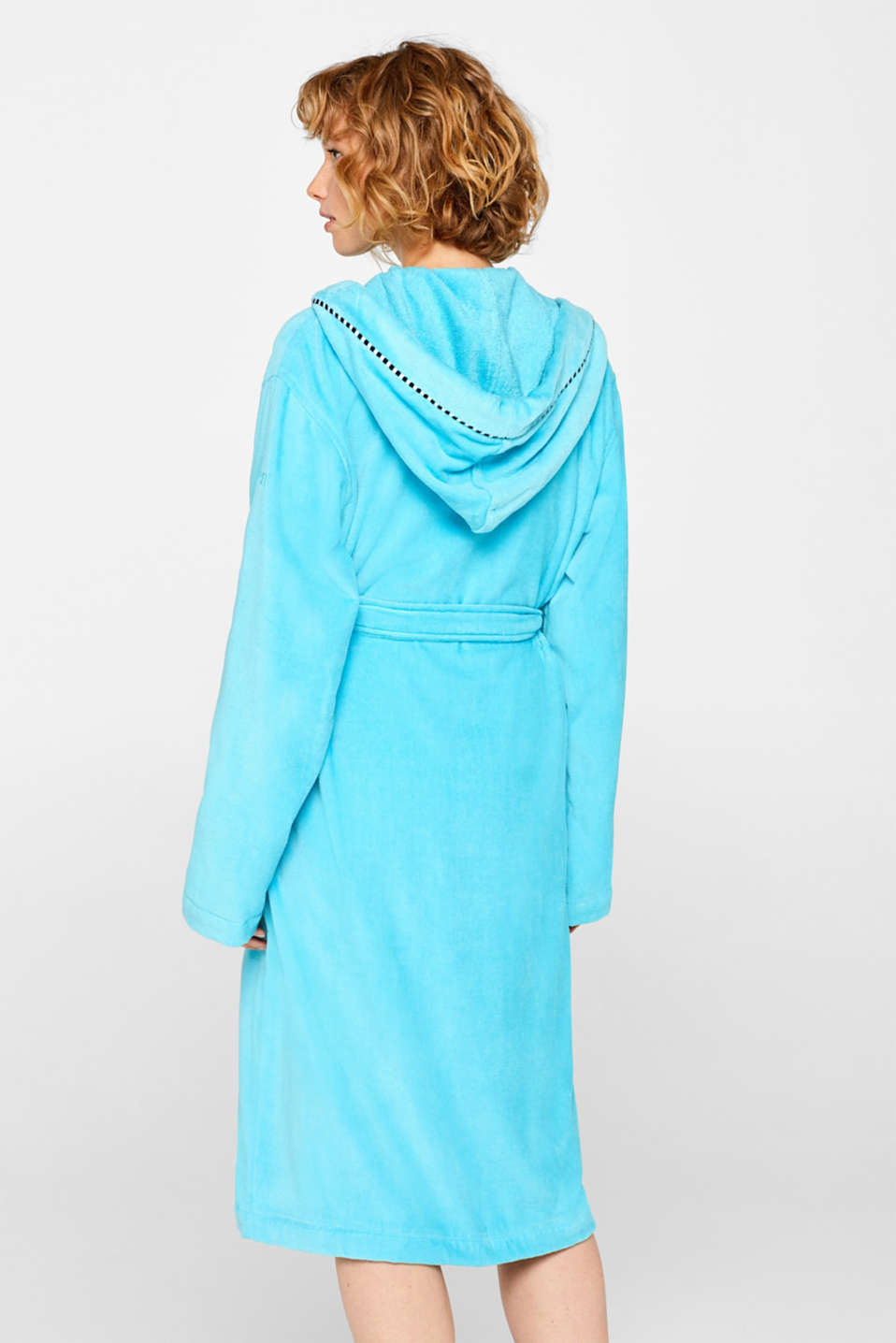 Unisex bathrobe made of 100% cotton, TURQUOISE, detail image number 2
