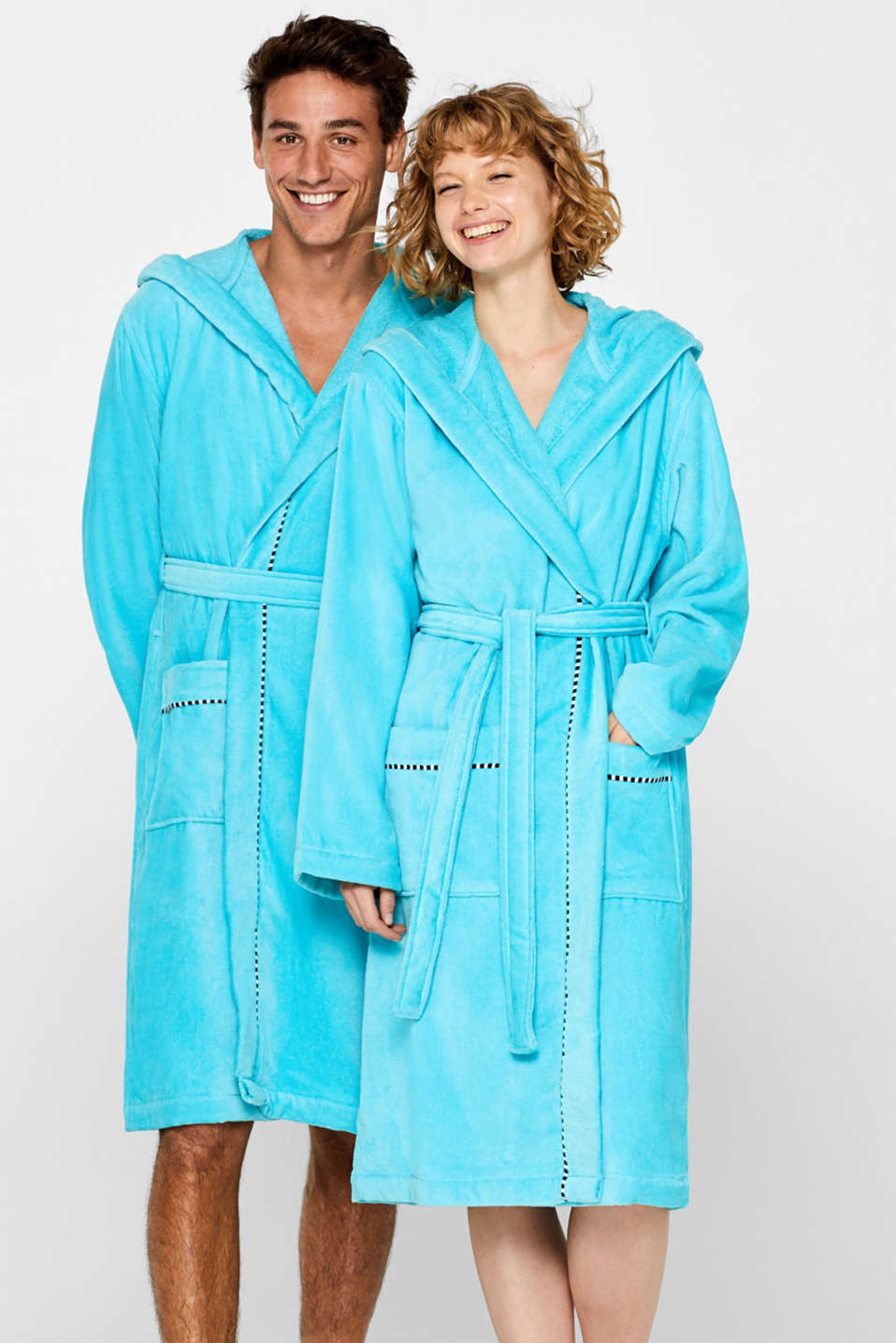 Unisex bathrobe made of 100% cotton, TURQUOISE, detail image number 0