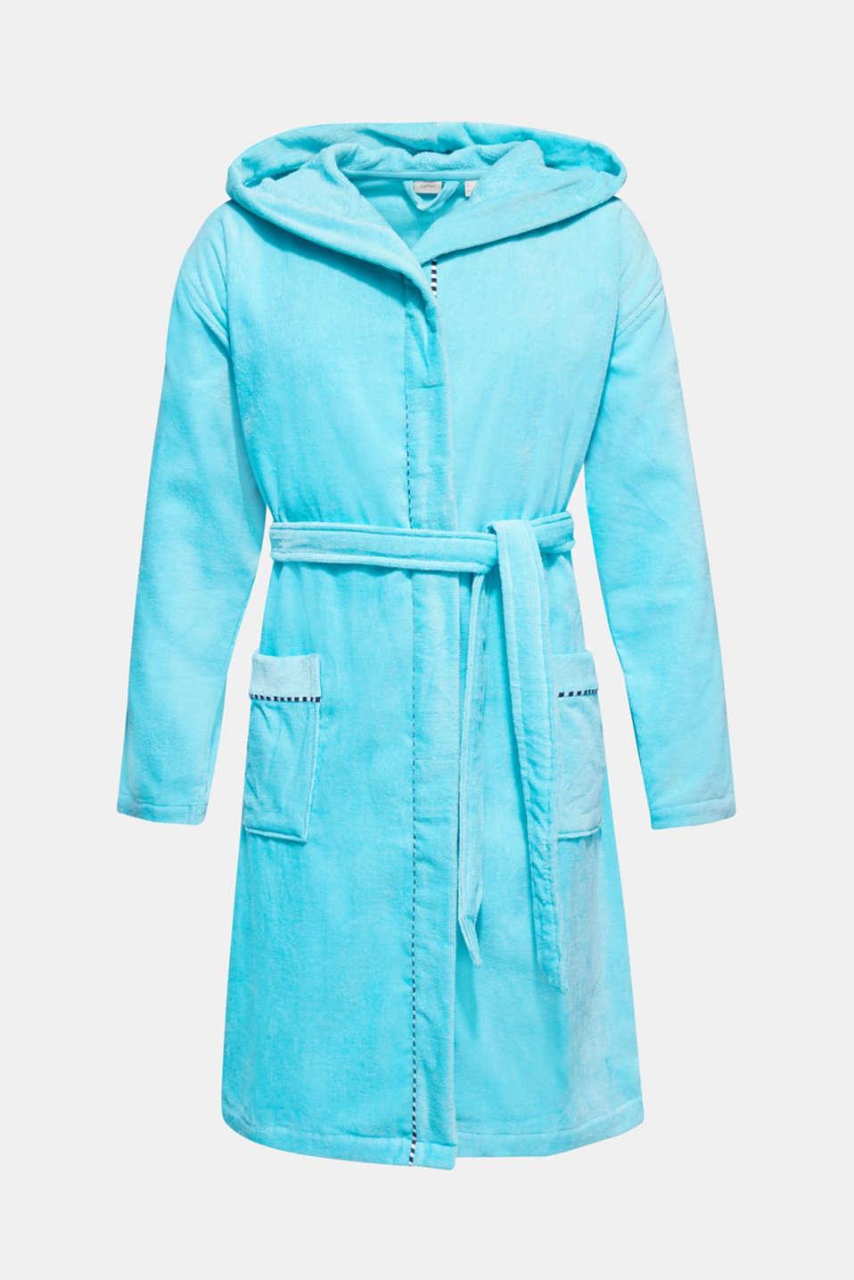 Unisex bathrobe made of 100% cotton, TURQUOISE, detail image number 4