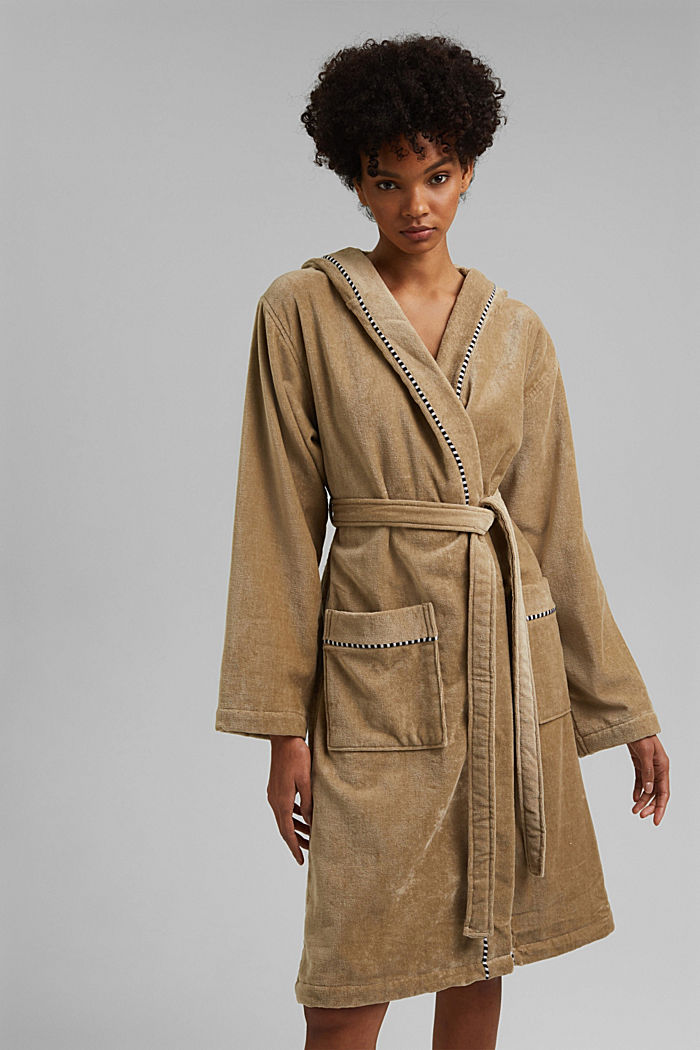 Suede bathrobe made of 100% cotton, MOCCA, detail image number 1