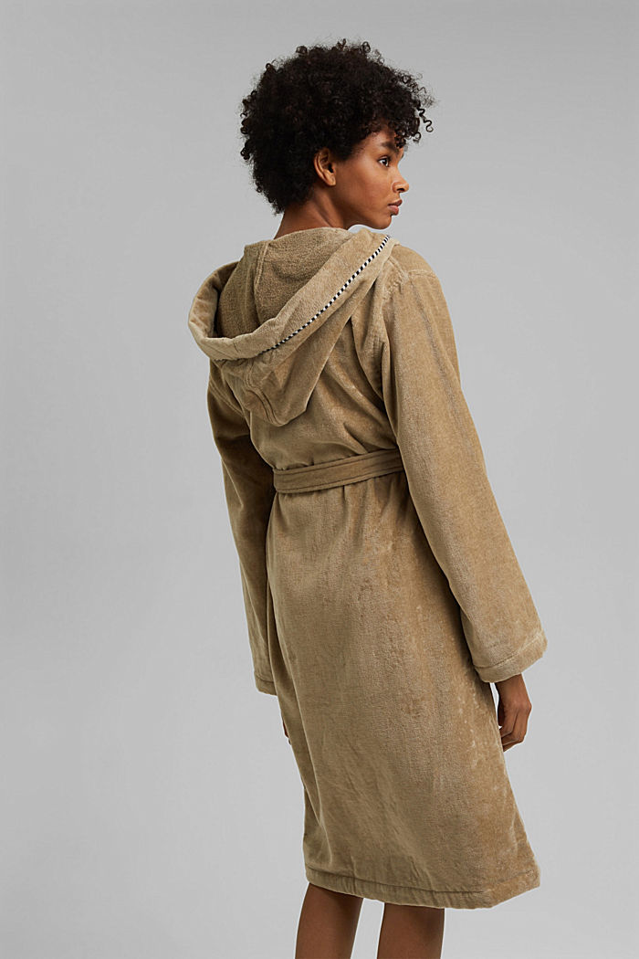Suede bathrobe made of 100% cotton, MOCCA, detail image number 2