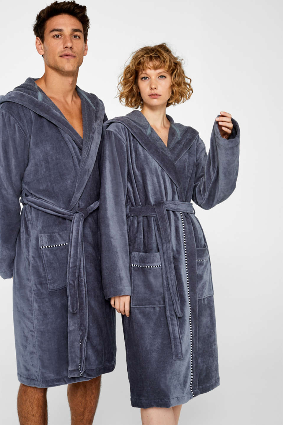 Unisex bathrobe, 100% cotton, GREY STEEL, detail image number 1