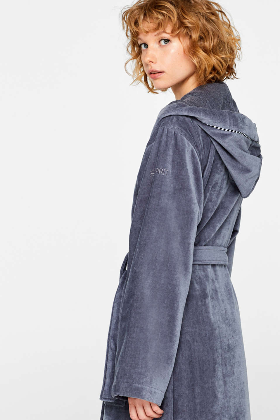 Unisex bathrobe, 100% cotton, GREY STEEL, detail image number 2