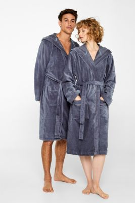 Unisex bathrobe, 100% cotton, GREY STEEL, detail