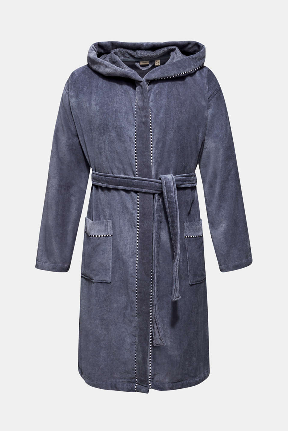 Unisex bathrobe, 100% cotton, GREY STEEL, detail image number 4