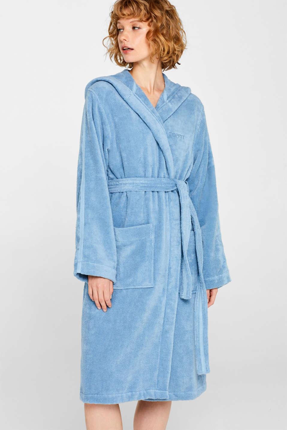 Unisex bathrobe made of 100% cotton, SKY BLUE, detail image number 1