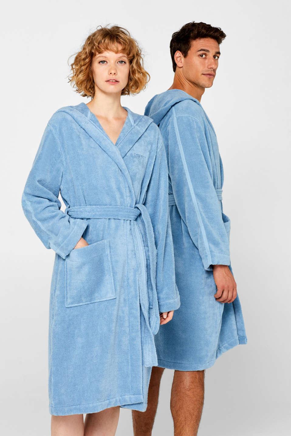Unisex bathrobe made of 100% cotton, SKY BLUE, detail image number 0