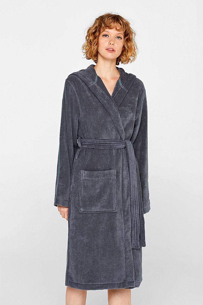 Unisex bathrobe made of 100% cotton, GREY STEEL, detail image number 1