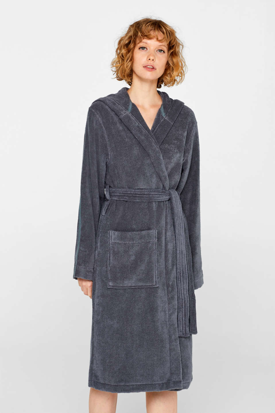 Unisex bathrobe made of 100% cotton, GREY STEEL, detail image number 1