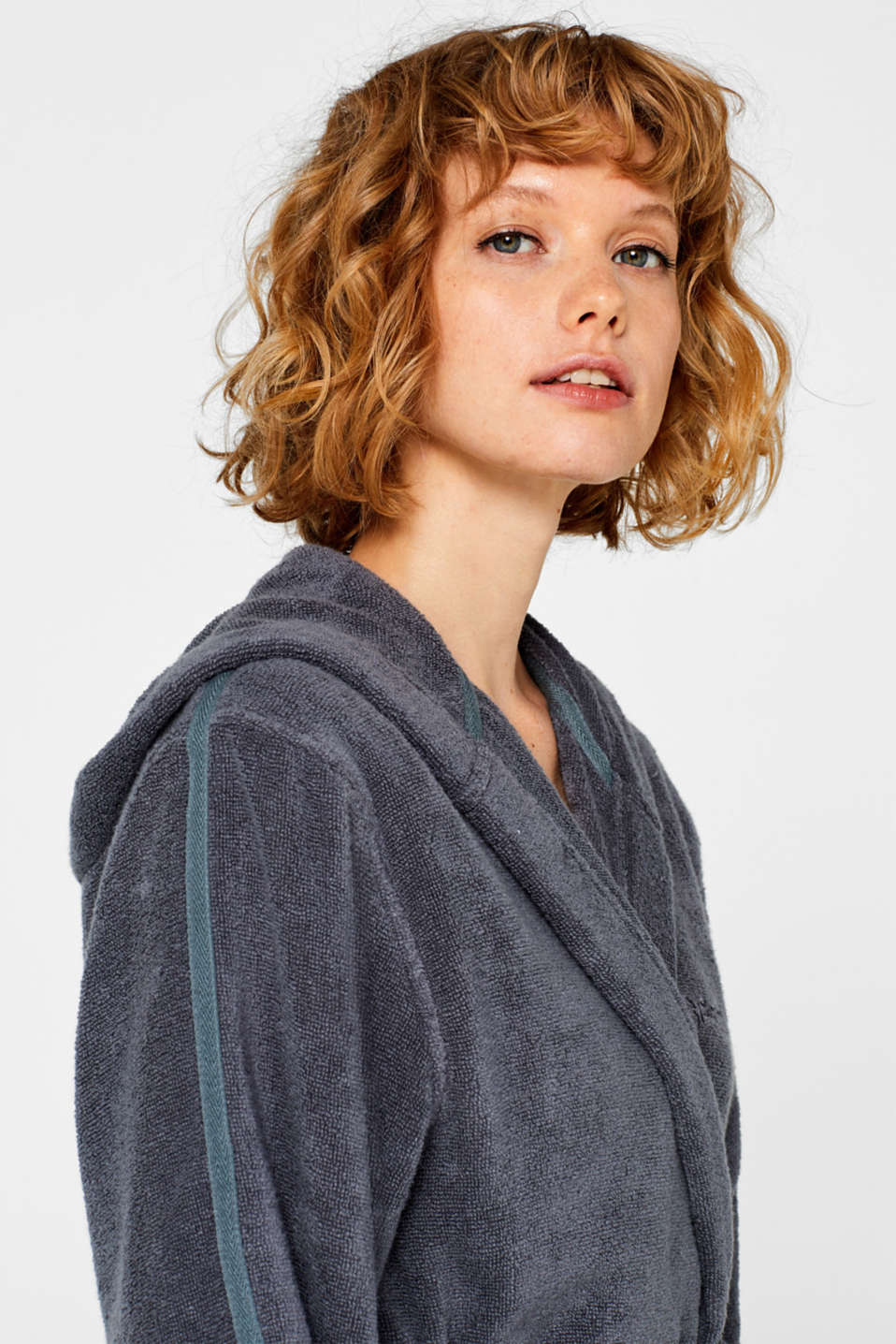 Unisex bathrobe made of 100% cotton, GREY STEEL, detail image number 3