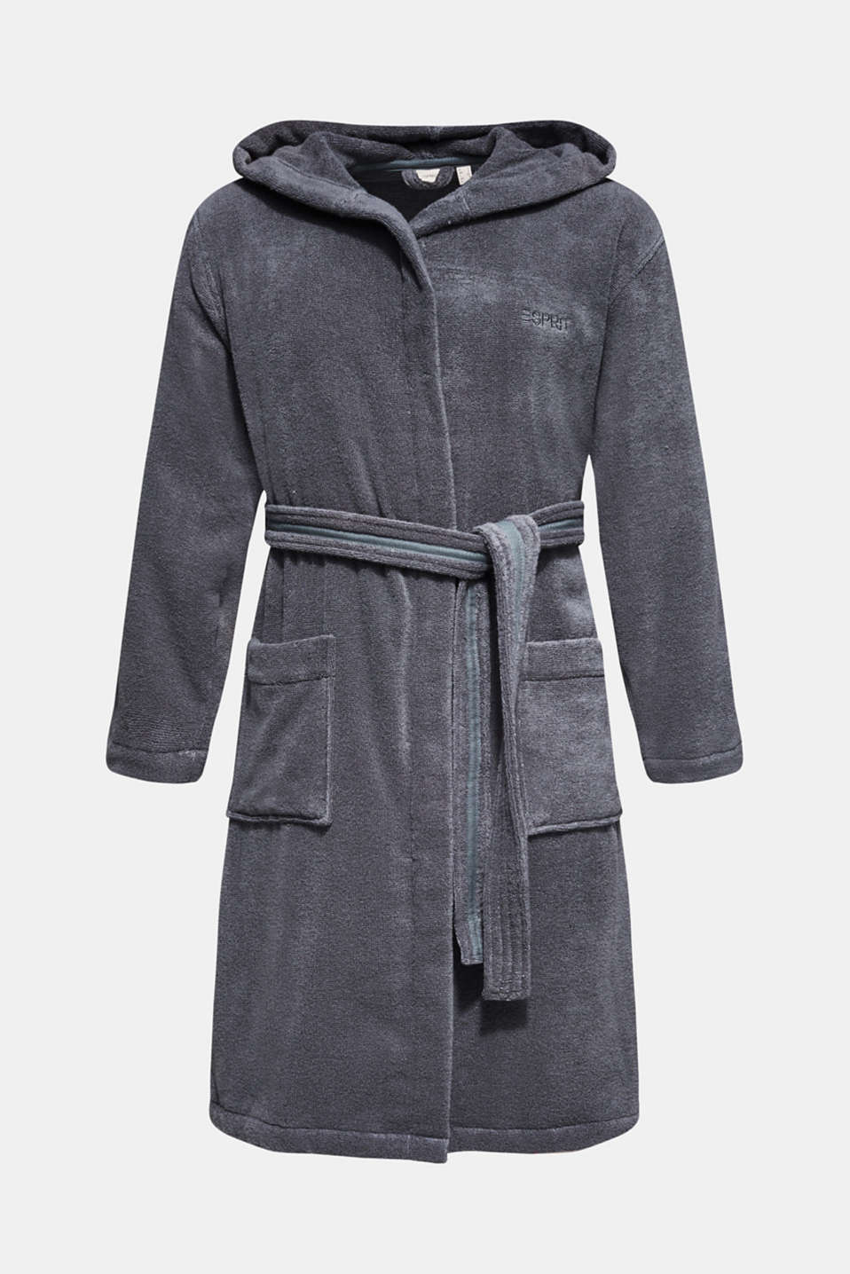 Unisex bathrobe made of 100% cotton, GREY STEEL, detail image number 4
