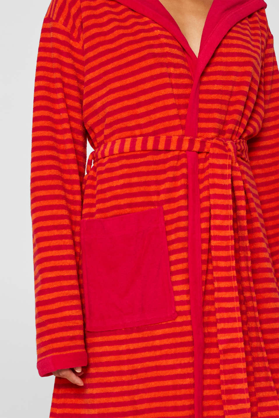 Terry cloth bathrobe with stripes, RASPBERRY, detail image number 0