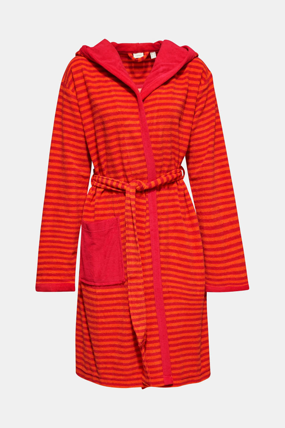 Terry cloth bathrobe with stripes, RASPBERRY, detail image number 4