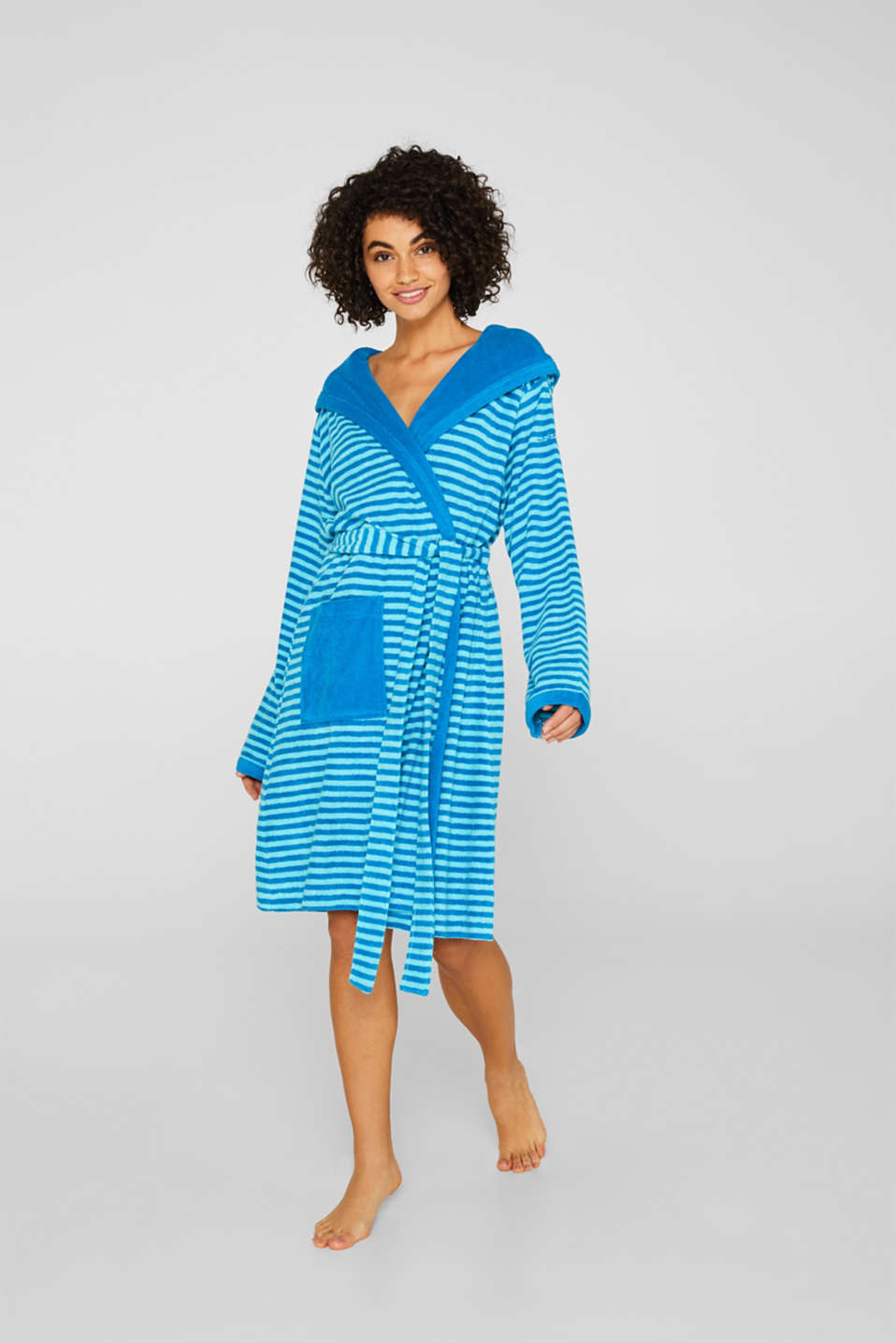 Terry cloth bathrobe with stripes