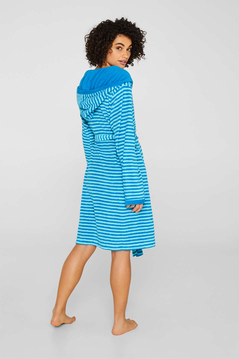 Terry cloth bathrobe with stripes, TURQUOISE, detail image number 1