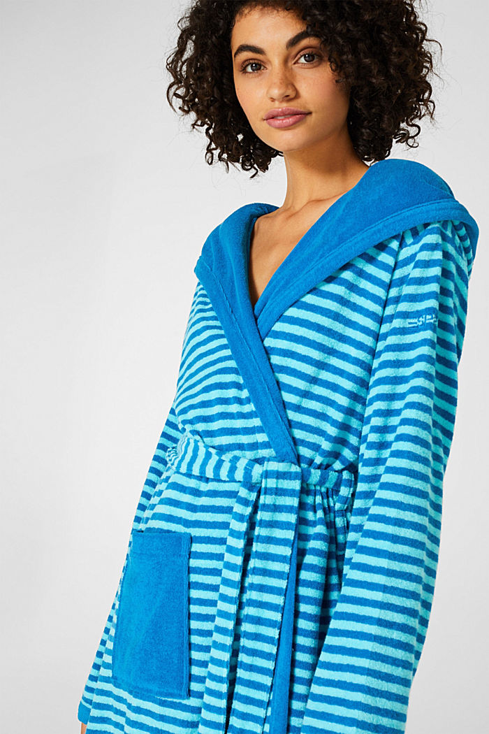 Terry cloth bathrobe with stripes, TURQUOISE, detail image number 2