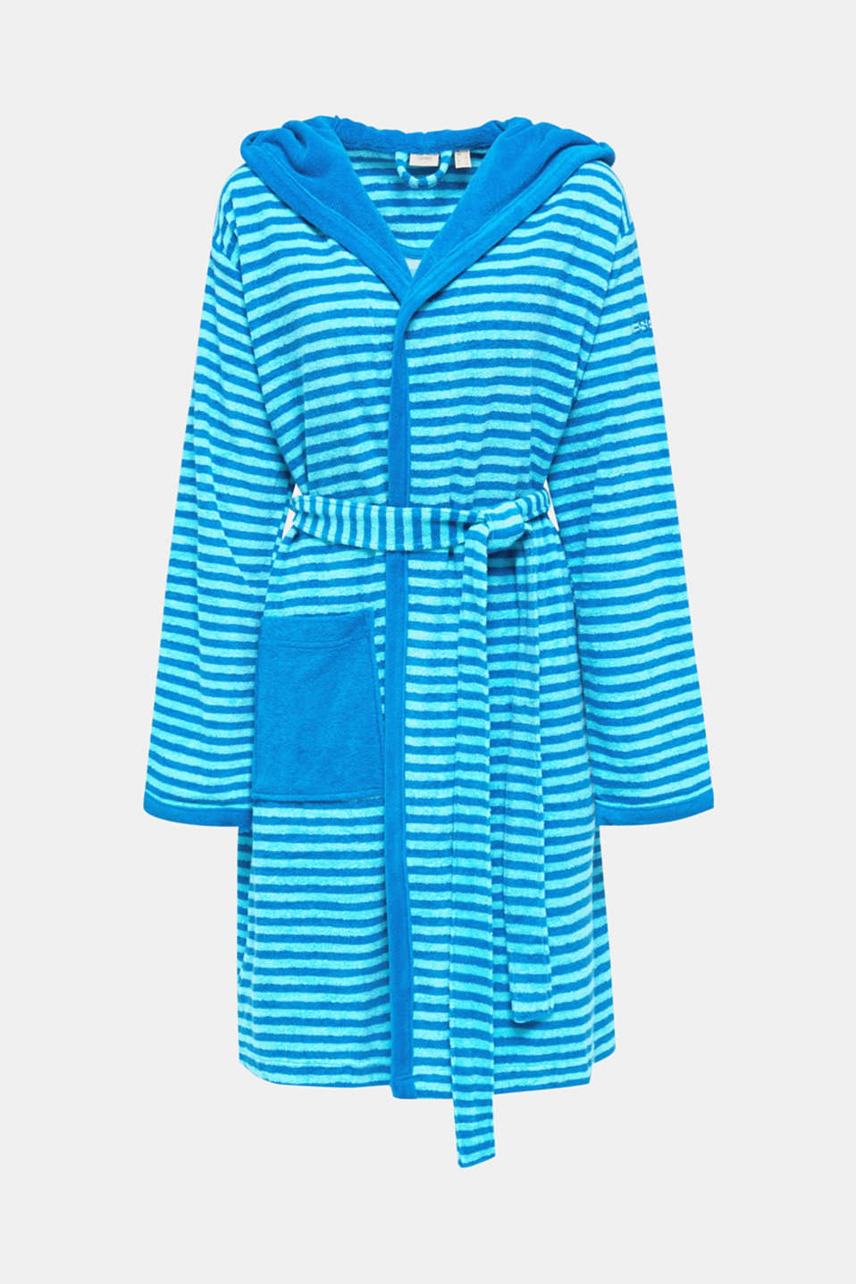 Terry cloth bathrobe with stripes, TURQUOISE, detail image number 3