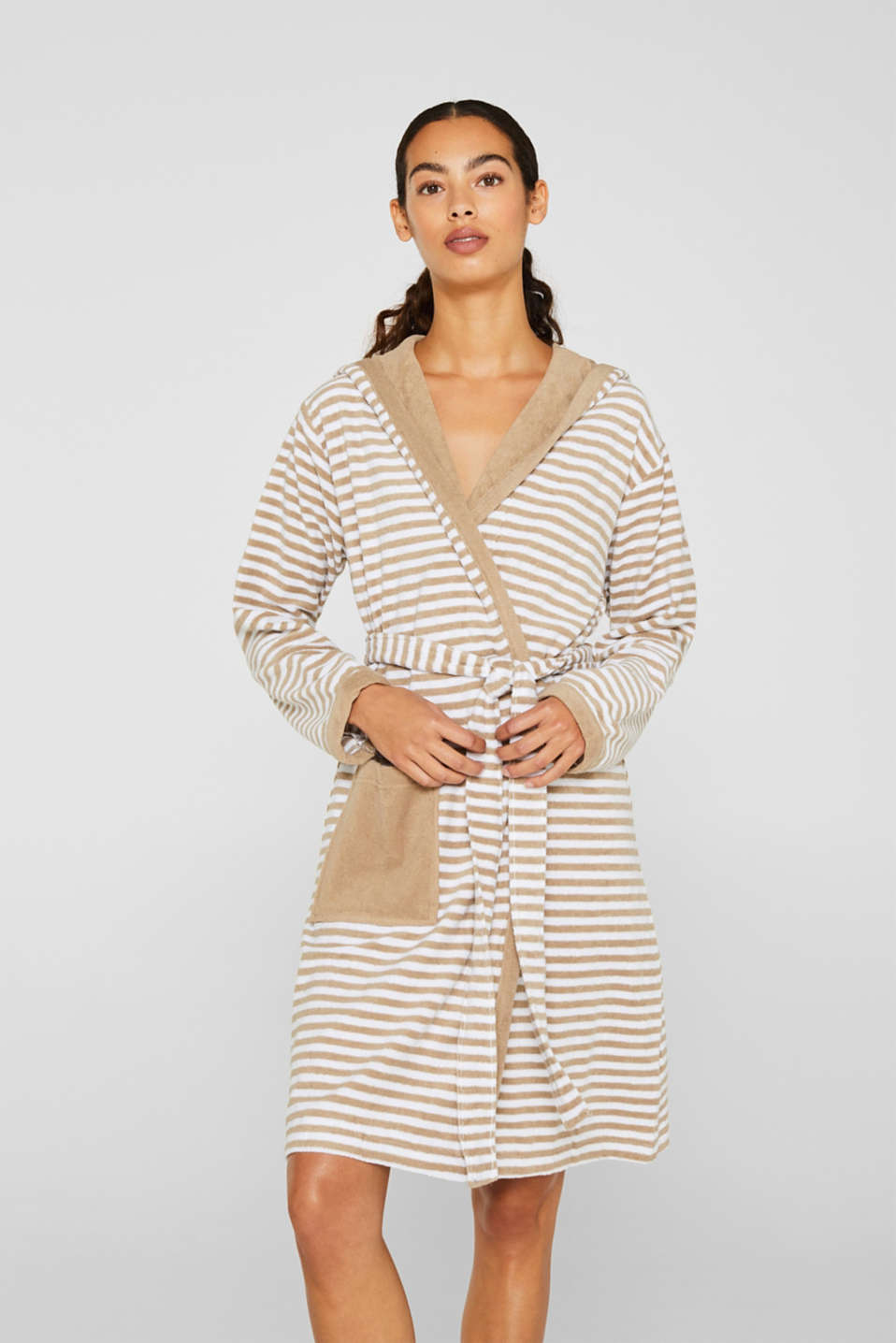 Terry cloth bathrobe with stripes, MOCCA, detail image number 1