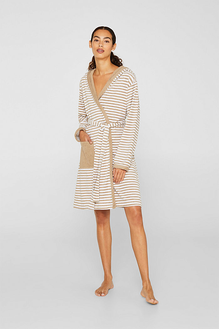 Terry cloth bathrobe with stripes, MOCCA, detail image number 0