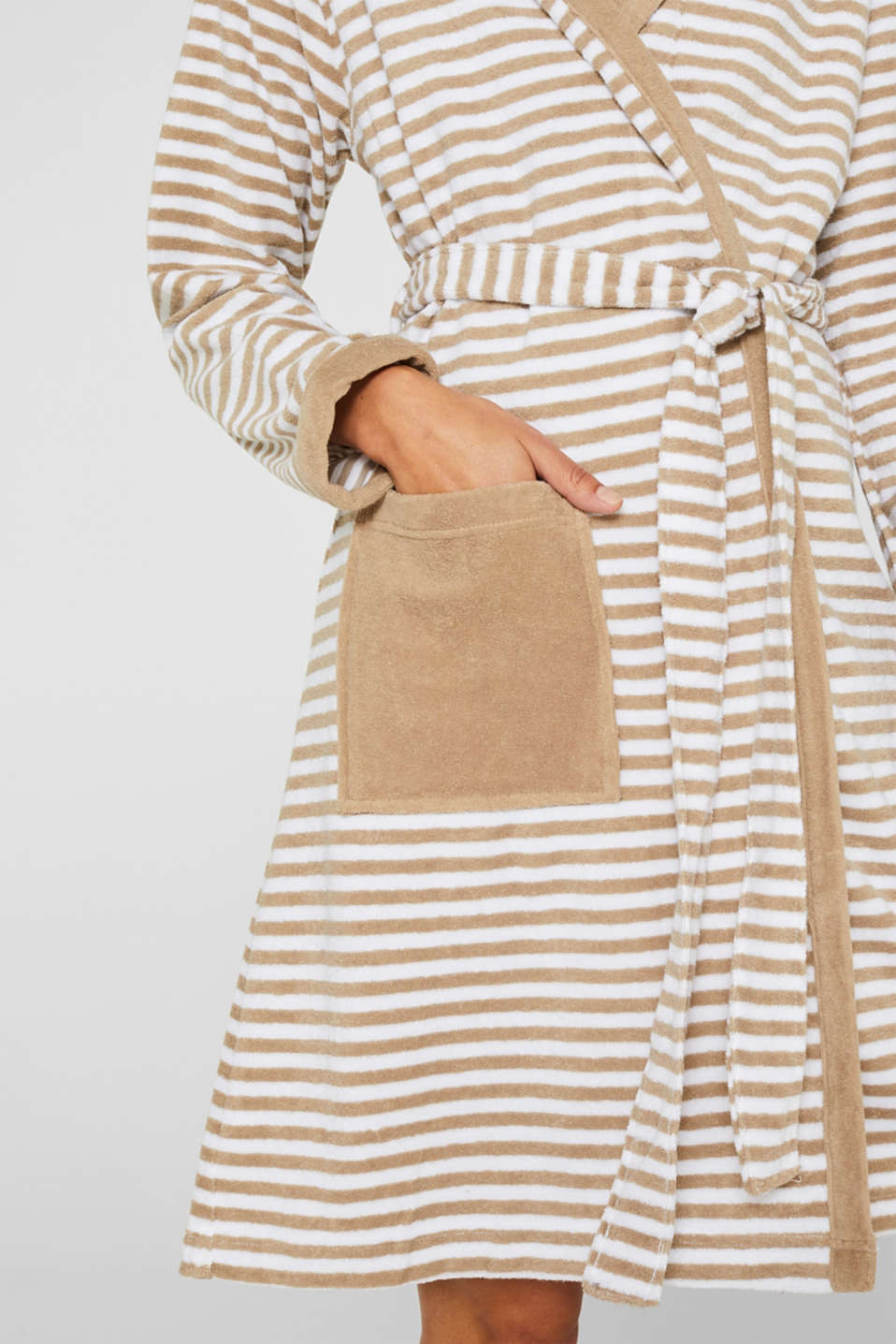 Terry cloth bathrobe with stripes, MOCCA, detail image number 3